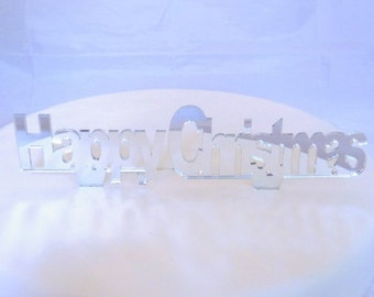 Happy Christmas Cake Topper Silver Mirror - 10cm/4""