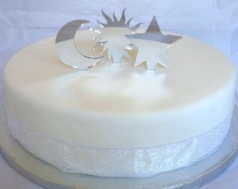 Set Sun Moon & Stars Cake Toppers in Silver Mirror Acrylic - 6.5cm / 2.6""