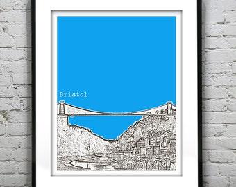 Bristol England Poster  Art Print UK United Kingdom Clifton Suspension Bridge