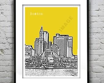 Boston MA City Skyline Poster Art Print Massachusetts Version 1 Wharf