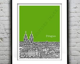 Prague Czech Republic Poster Art Print  Skyline