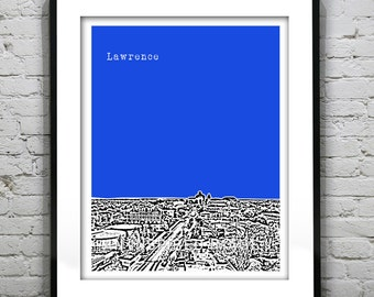 Lawrence Kansas Poster Art Skyline Print Version 1