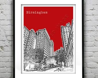 Birmingham Alabama Poster Art Print Skyline  Downtown Version 2