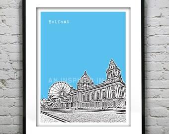 Belfast Poster Art Print Skyline  Northern Ireland Béal Feirste