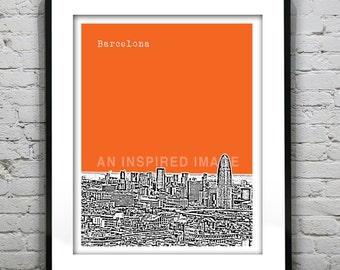 Barcelona Poster Spain Art Print Skyline