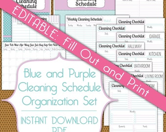 editable cleaning schedule set pdf instant download organization printable set in blue and purple. Black Bedroom Furniture Sets. Home Design Ideas