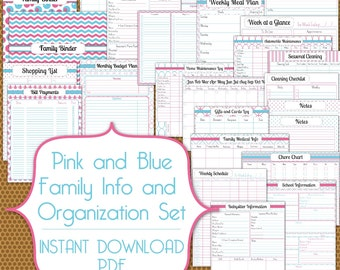 Family Information and Busy Mom PDF Set Instant Download Organization Printable in Pink and Blue