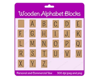 Wooden Alphabet Blocks Set  Digital Scrapbook and Clipart Instant Download