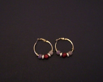 Gold hoop earrings with beads