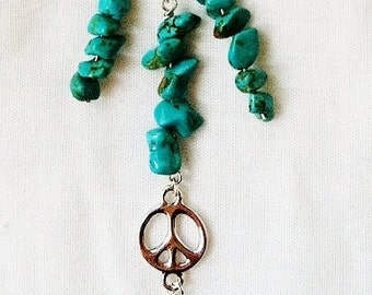 Silver Peace Sign Necklace with Genuine Turquoise Nuggets