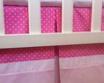 Custom Crib Skirt / Dust Ruffle with Pink and White polka dot and Stripes cotton / Cotton lining / Box Pleat / Adjustable or gathered