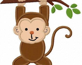 Monkey With Branch Applique Machine Embroidery Design NO:0023