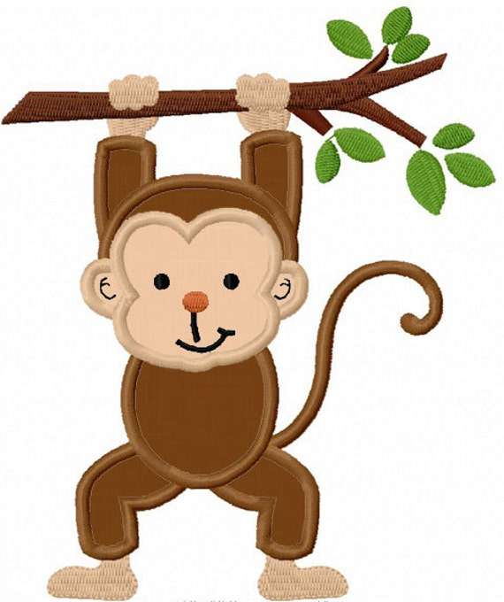 Monkey With Branch Applique Machine Embroidery Design NO0023