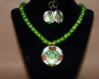 Green Cloisonne Necklace with Earrings.