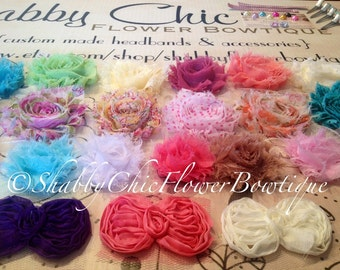 DIY Baby Headband Kit - Over 90 Pieces - Creates 15 Customized Headbands 4 Clips - Shabby Chic Flower DIY Headband Making Kit: - Baby Shower