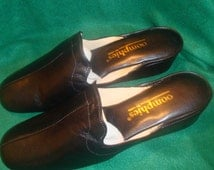 Vintage OOmphies Granada Black Leather Slippers/ Shoes Size 11 (New Old Stock)