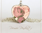 Heart Pink Roses Necklace Pendant Jewelry Vintage Image Art Valentine's Day 0104HS