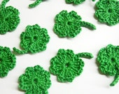 Crocheted shamrock appliques, 12 pc., 1 inch wide green lucky clover