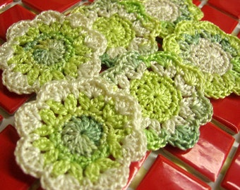 Crochet flower appliques, 6 pc., 2 inches wide, handmade motifs in green and cream shades