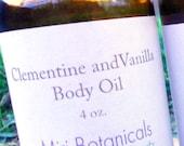 Clementine and Vanilla Body Oil, Organic Body Oil, Orange Vanilla Massage Oil, Scented Body Oil, Aromatherapy Bath Oil