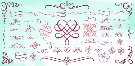 samantha script ornaments a calligraphic hand lettered With hand lettering ornaments