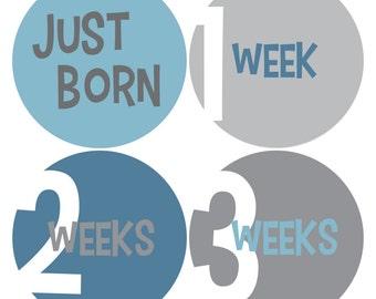 Newborn Baby Stickers, Baby Milestone Stickers, Baby Stickers - Blue, Grey, Baby Boy, Boy, NEWBORN SET