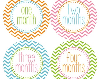 Baby Monthly Stickers, Monthly Baby Girl Stickers, Baby Month Milestone Stickers - Pink, Green, Chevron, Baby Shower Gift