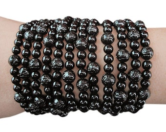 SIZE: EXTRA LARGE - Back to Black - Black Beaded Wallet/Bracelet