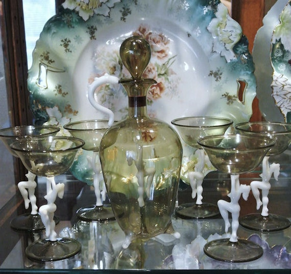 Austrian Art Deco Decanter Set Bimini Austria Art Glass Nude Risque Decanter Set Hand Blown Glass by Fritz Lampi 1930s Barware Drinking Bar