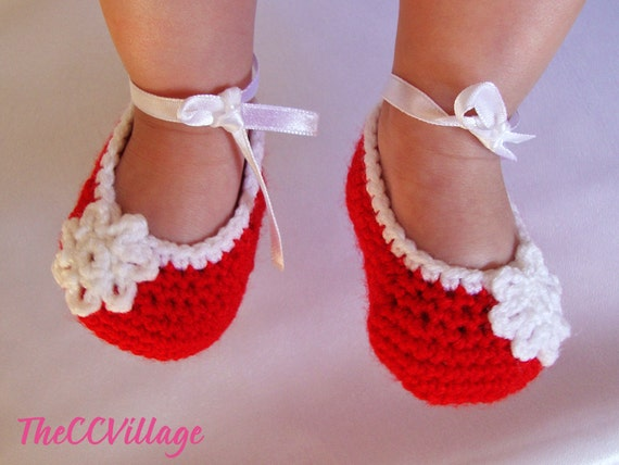 Red handmade crochet baby girl shoes Ballerina Baby Girl