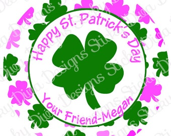 PERSONALIZED St.PATRICKS STICKERS - Sweet Pink and Green Shamrocks - Round Gloss Sticker Labels