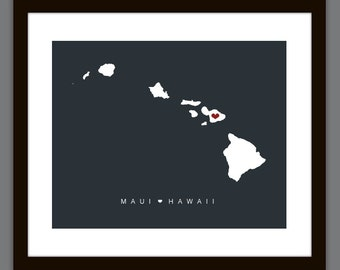 Personalized Hawaii Love Map Wall Art Printable