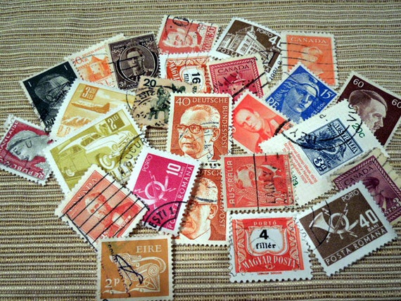 Vintage World War II Postage Stamps E-Mix4