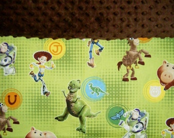Nap Mat Cover / Toddler Cot Cover with Padded Minky Dot Headrest - Toy Story Olive/Brown