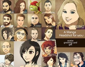 Custom portrait for gift/greeting card/blog/avatar/web-icons/prints
