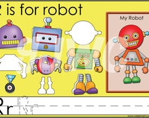R is for Robot Alphabet File Folder Game - Downloadable PDF Only