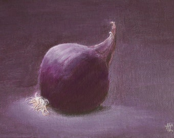 FREESHIPPING Red Onion 5,12 x 7,09 inch acrylic on canvas panel original painting