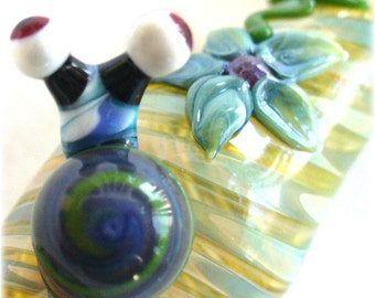 Custom Snail Pipe with Flower - Silver Fumed - Color Changing