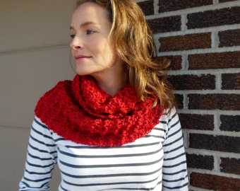 Apple Red Infinity Scarf Hand Knit Circle Loop Fashion Scarf