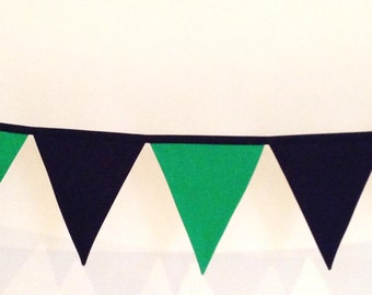 Navy Blue and Green Fabric Bunting Banner Flags