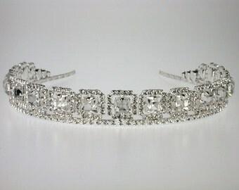 Wedding Tiara - Silver Rhinestone Tiara - Donna Bridal Tiara with Rhinestones - Bridal Hair - Wedding Hair Jewelry - Diamante Headband