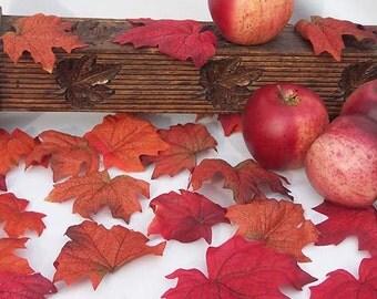 Indian Summer Fire Maple Silk Fall Leaves Leaf Autumn Burgundy Wedding Decor