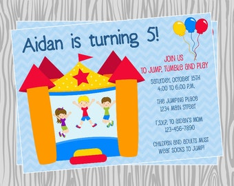 DIY -Boy Bounce House Birthday Invitation - Coordinating Items Available