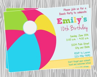 DIY - Girl Beach Ball Birthday Party Invitation - Coordinating Items Available