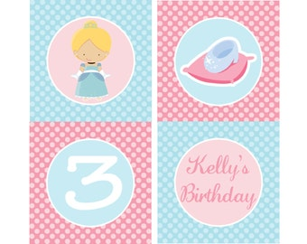 DIY - Princess Cinderella Inspired Birthday Party Cupcake Toppers- Coordinating Items Available