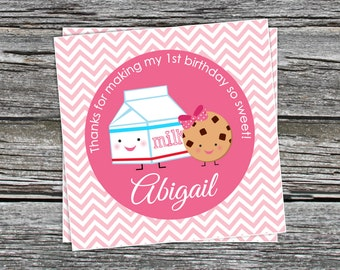 DIY - Girl Cookies and Milk  Birthday Party Favor Tags- Coordinating Items Available