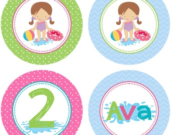 DIY - Girls Pool Party  Birthday Cupcake Toppers- Coordinating Items Available