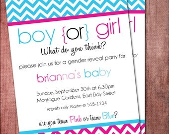 Gender Reveal Baby Shower Invite - Printable