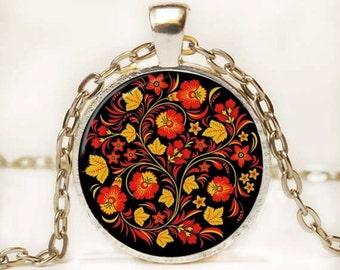 Russian Folk Art Jewelry Russian Necklace Pendant Art Pendant Red Yellow Black Resin Pendant
