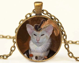 Elizabethan  Cat Art Pendant Altered Art Pendant Necklace Siamese Cat Jewelry Steampunk
